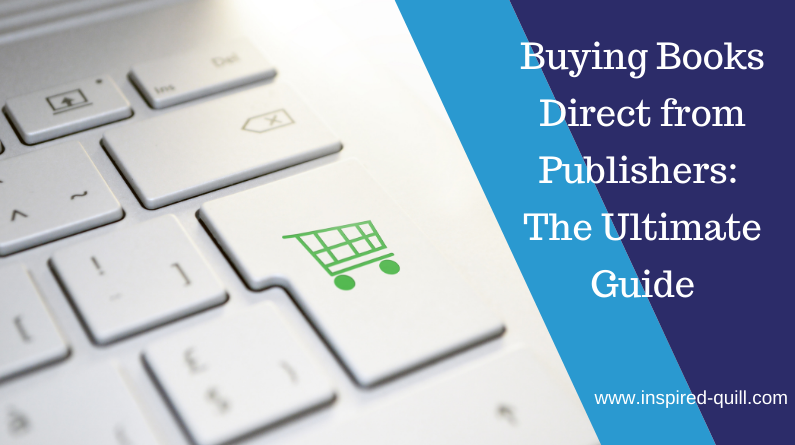 A blog feature image showing a white keyboard with a green shopping cart on the enter button with the title 'Buying Books Direct from Publishers: The Ultimate Guide' over the top