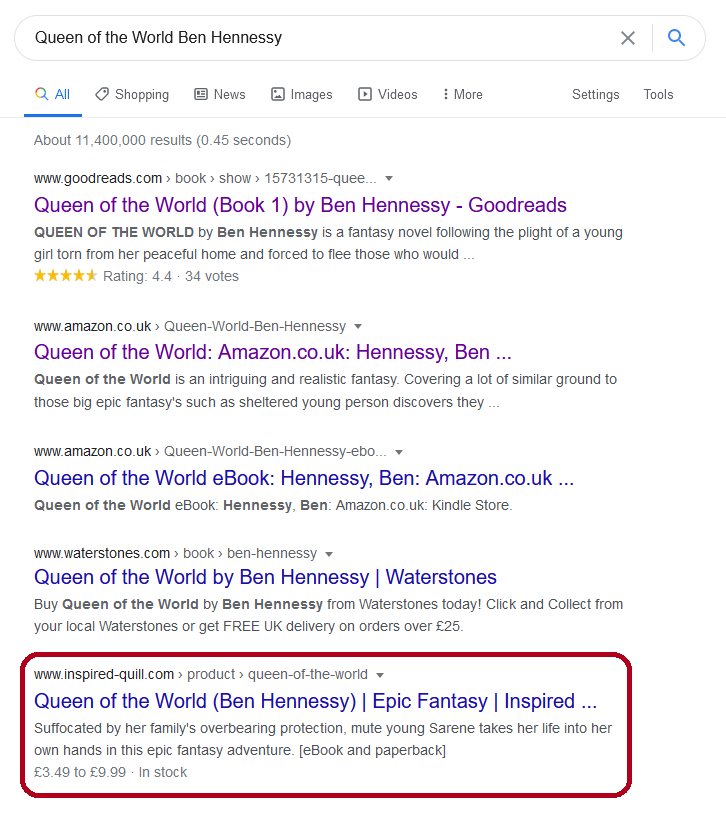 A screenshot from Google Search featuring the top five results for 'Queen of the World Ben Hennessy' with the final result in a red box