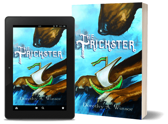 A book-and-ipad composite of the The Trickster front cover