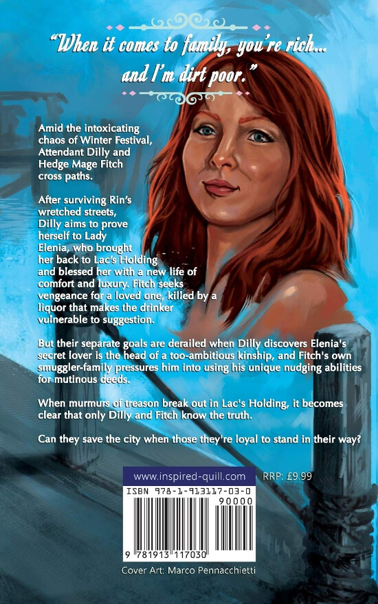 Back cover for the YA fantasy novel The Trickster by Dorothy A. Winsor