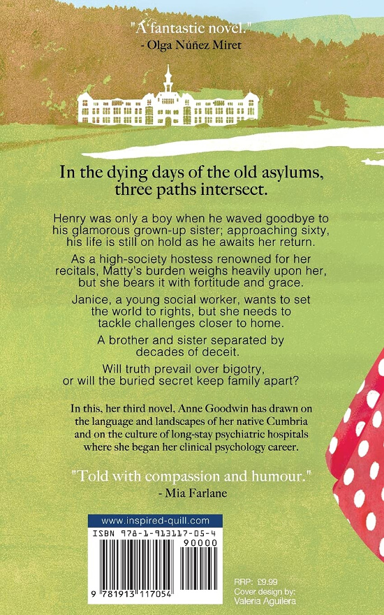 Back cover for the literary fiction novel Matilda Windsor Is Coming Home (by Anne Goodwin)