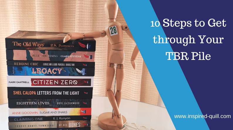 """A pile of Inspired Quill books and the text """"10 Steps to Get through Your TBR Pile"""""""