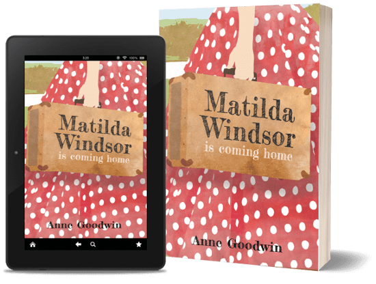 A book-and-ipad composite of the Matilda Windsor Is Coming Home front cover on a transparent background