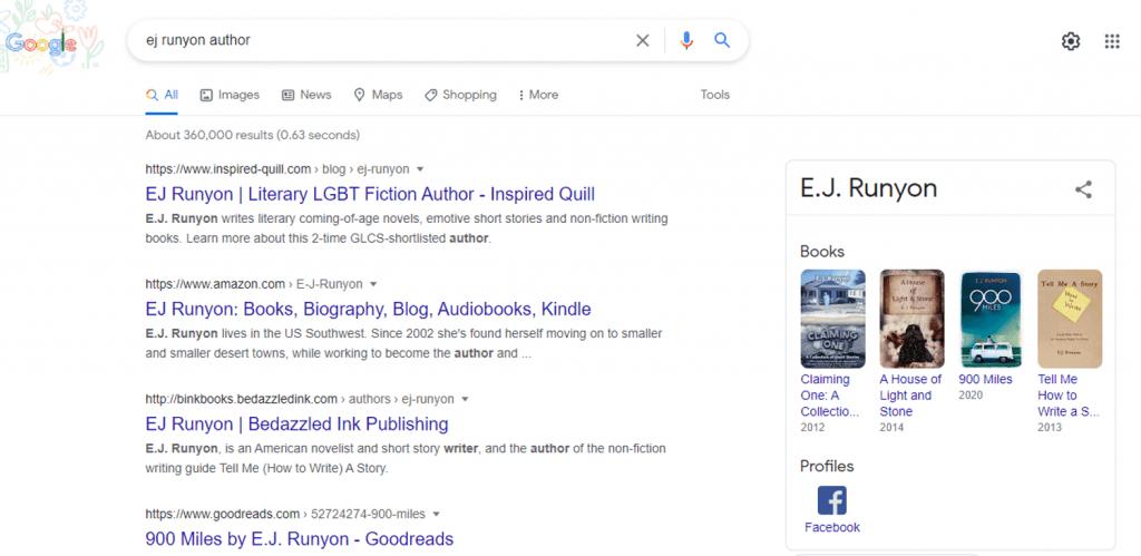 Author EJ Runyon Google Panel