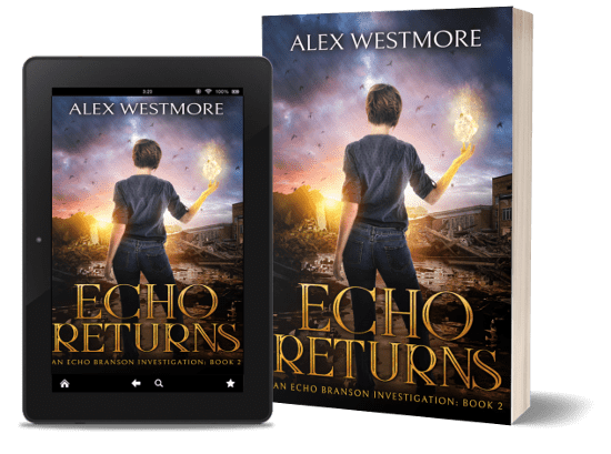 A book-and-ipad composite of the Echo Returns front cover on a transparent background