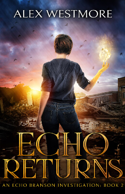Paranormal fantasy book cover showing a girl standing in front of a destroyed city.