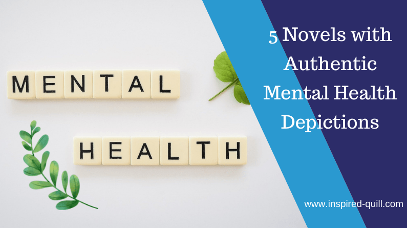 A blog feature image showing a small leafy branch and scrabble tiles spelling 'Mental Health' with the title '5 Novels with Authentic Mental Health Depictions' over the top